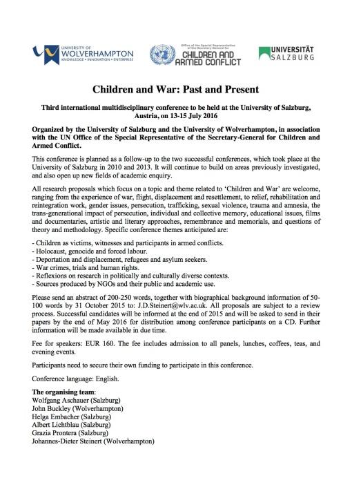 CfP - Children and War 2016